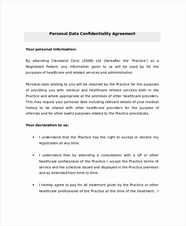 Personal Service Contract Template Lovely Personal Confidentiality Agreement – 8 Free Word Pdf