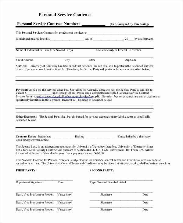 Personal Service Contract Template Lovely Sample Service Contract 20 Examples In Pdf Word