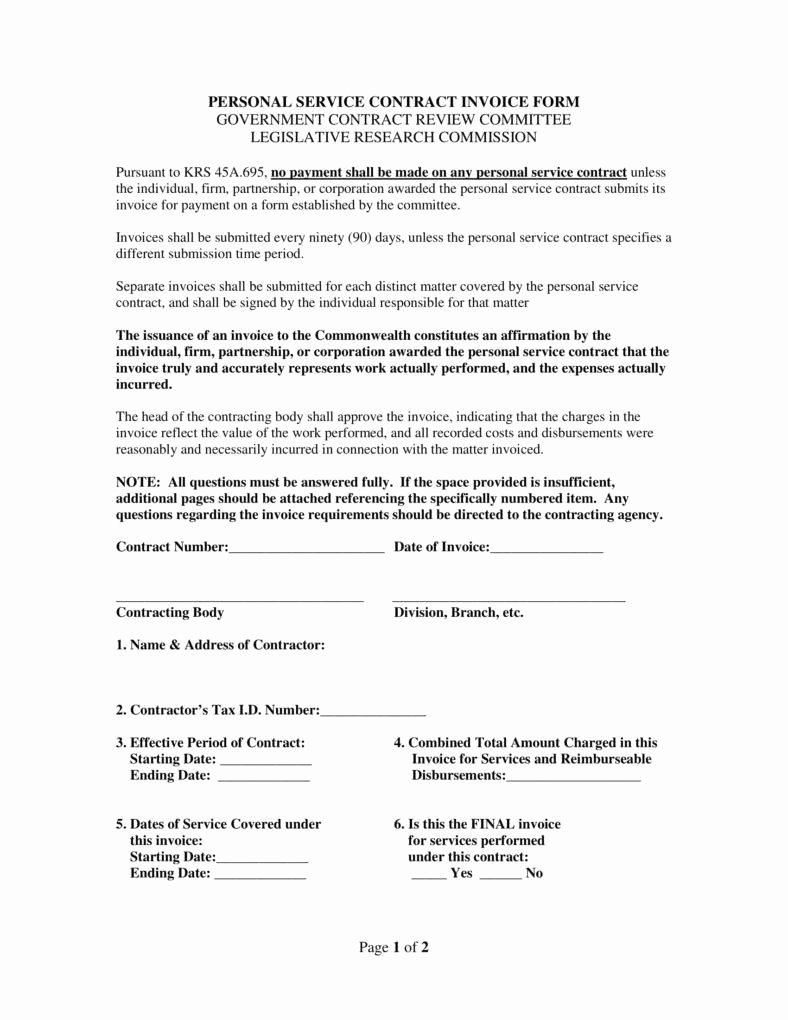 Personal Service Contract Template New 4 Labour Invoice Templates Pdf