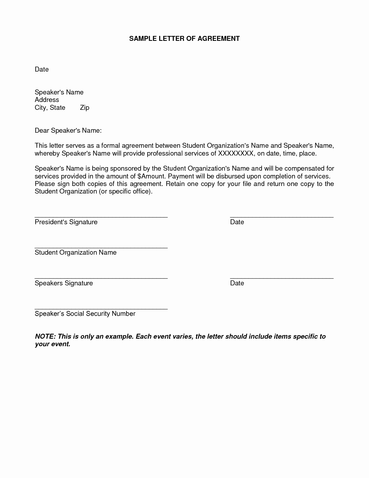 Personal Service Contract Template New Free Printable Letter Of Agreement form Generic