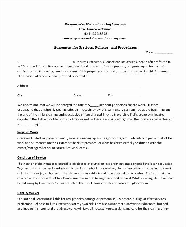 Personal Service Contract Template Unique 13 Sample Cleaning Service Contract Template Pages