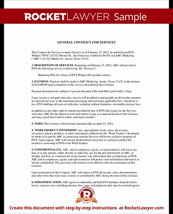 Personal Service Contract Template Unique General Contract for Services form Template with Sample
