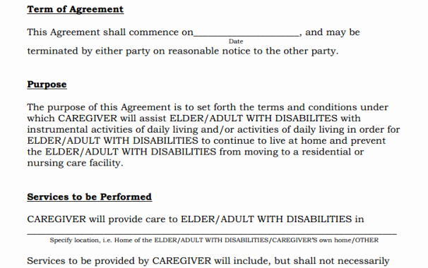 Personal Services Contract Template Fresh Another Caregiver Agreement Rejected by New Jersey