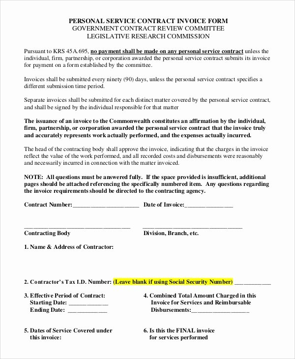 Personal Services Contract Template Fresh Sample Invoice form 8 Examples In Pdf Word