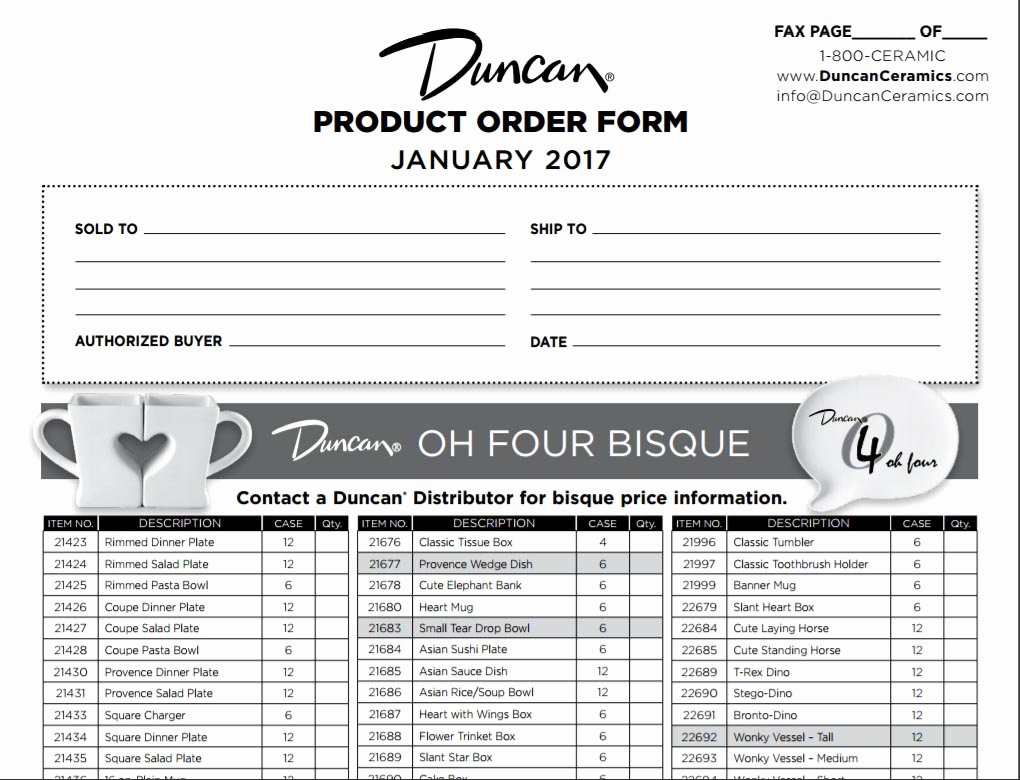 Photo Package order form Template Beautiful Duncan Customer Products order form
