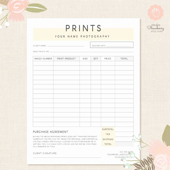 Photo Package order form Template Elegant order form Template Graphy order form Graphy
