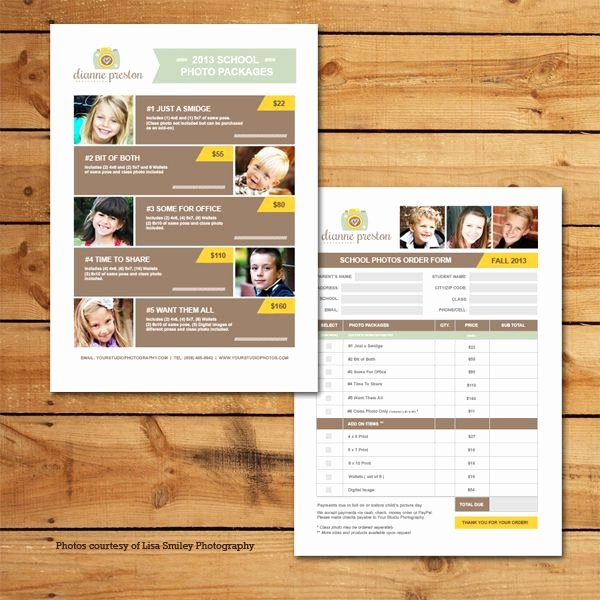 Photo Package order form Template Luxury School S Pricing & order form Template