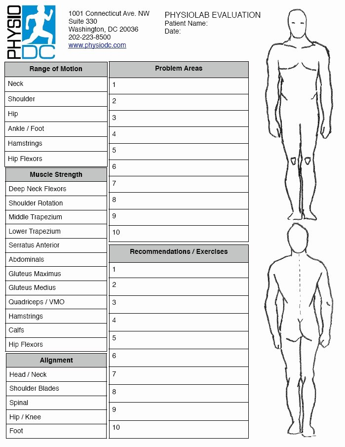 Physical therapy forms Template Awesome Physiolab – Full Body Physical therapist Evaluation