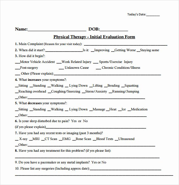 Physical therapy forms Template Elegant Free 7 Sample Physical therapy Evaluations In Examples