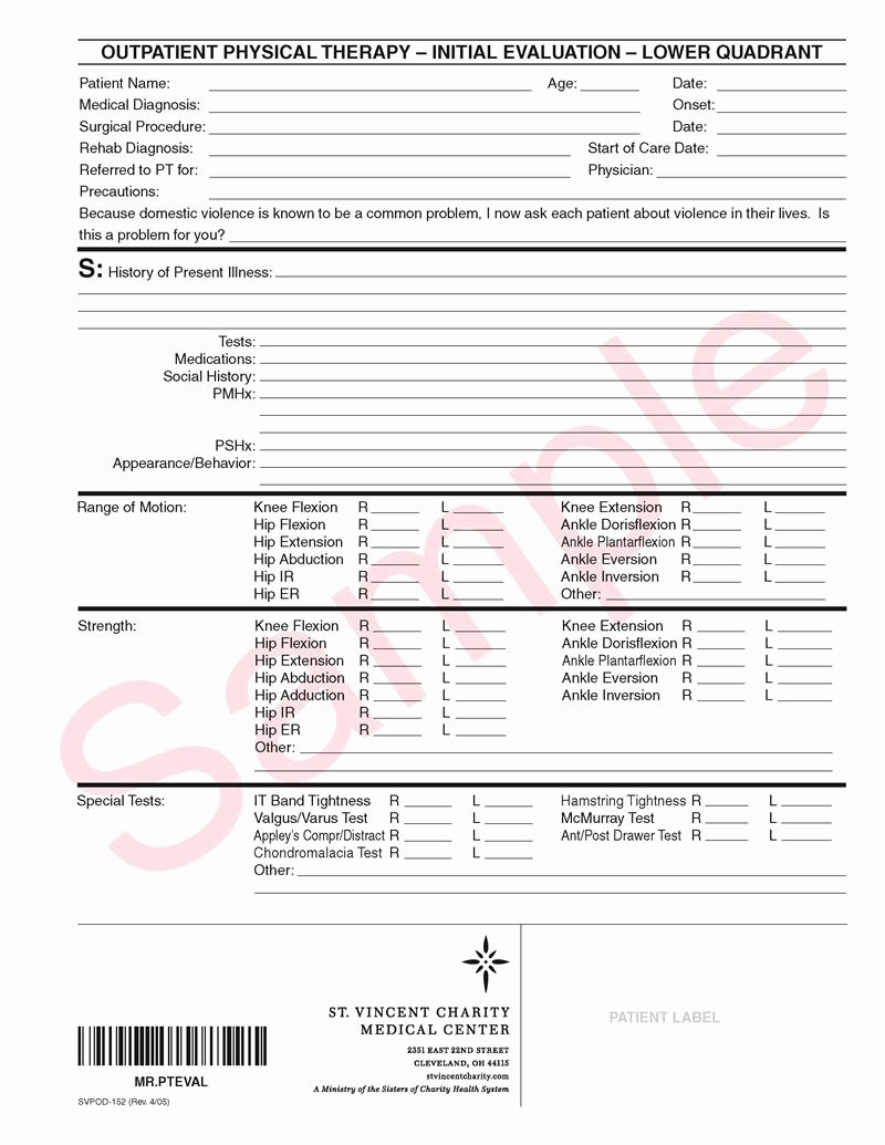 Physical therapy forms Template Lovely Svpod 152 Outpatient Physical therapy Initial Evaluation