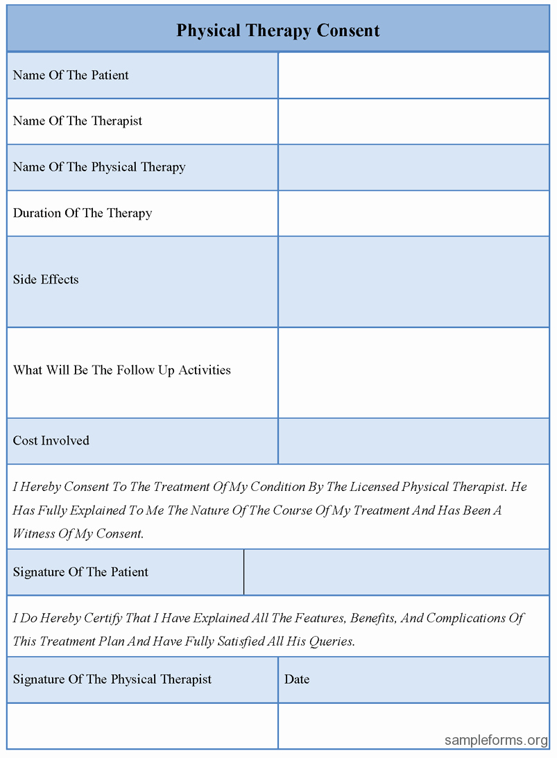 Physical therapy forms Template Luxury Physical therapy Consent forms Sample forms