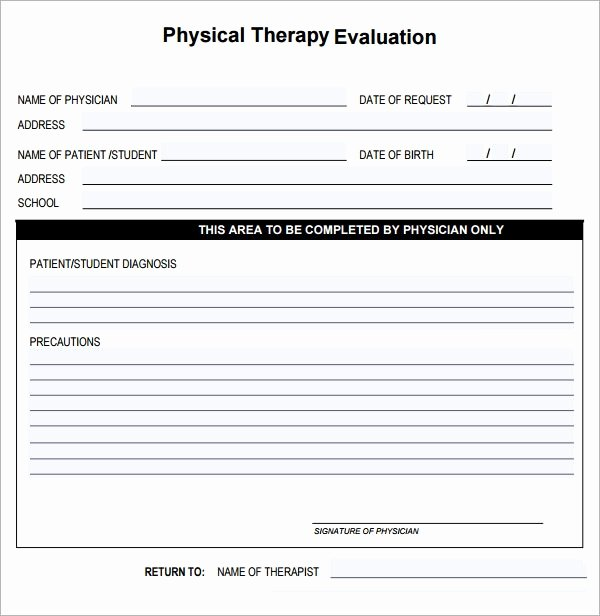 Physical therapy forms Template Unique Physical therapy Evaluation 6 Free Download for Pdf