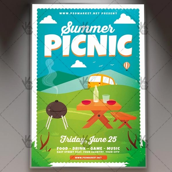 Picnic Flyer Template Free Awesome Download Summer Picnic Flyer Psd Template