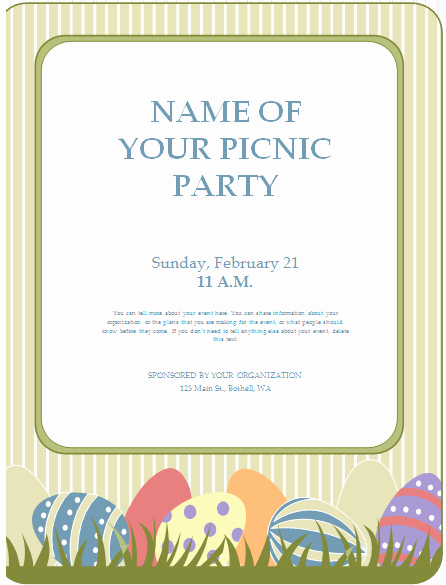 Picnic Flyer Template Free Awesome Editable Printable Ms Word Picnic Party Flyer Template