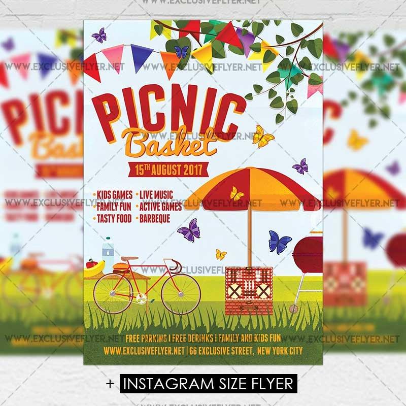 picnic basket premium a5 flyer template