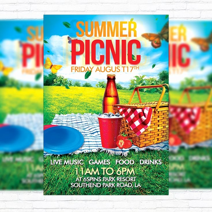 Picnic Flyer Template Free Unique Summer Picnic – Premium Flyer Template Facebook Cover