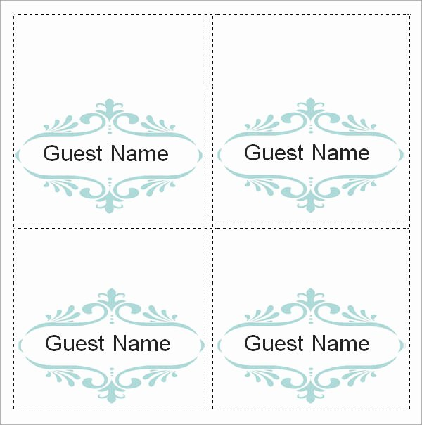 Place Card Template Word Beautiful Sample Place Card Template 6 Free Documents Download In