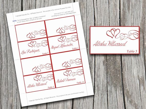 Place Card Template Word Best Of Diy Heart Swirls Tent Place Cards Microsoft Word Template