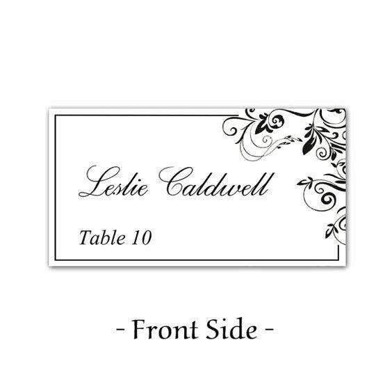 Place Card Template Word Elegant Instant Download Classic Elegance Black Leaf ornate