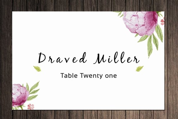 Place Card Template Word New Items Similar to Printable Wedding Place Cards Template