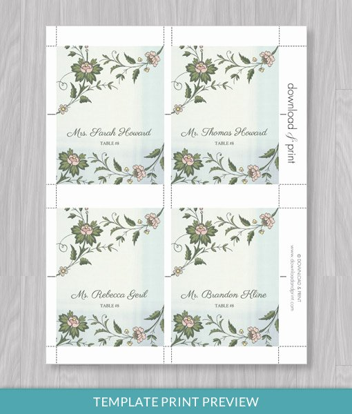 Place Card Template Word Unique Watercolor Flowers Place Card Template – Download & Print