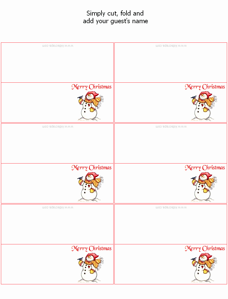 Place Card Templates Word Awesome Free Christmas Place Card Templates