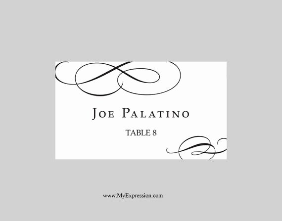 Place Card Templates Word Beautiful Wedding Place Cards Flat Template Calligraphic Flourish