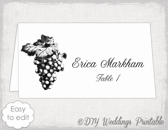 Place Card Templates Word Best Of Place Card Template Grapes Name Card Templates