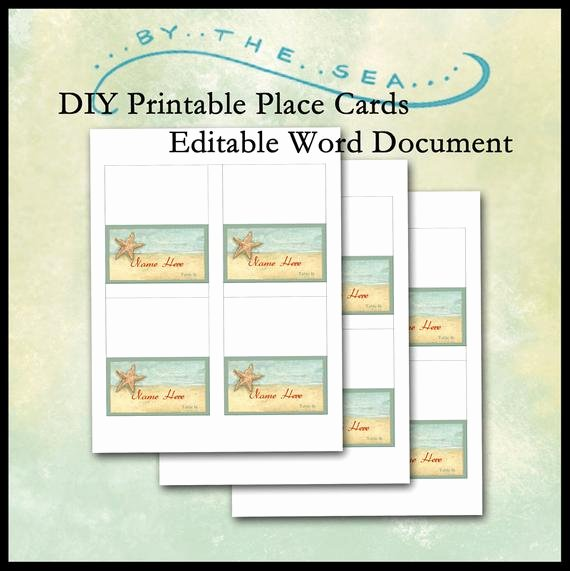 Place Card Templates Word Inspirational Diy Printable Place Card Template by the Sea Beach Starfish