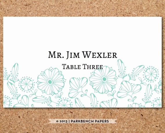 Place Card Templates Word Lovely Items Similar to Place Card Template Floral Mint Diy
