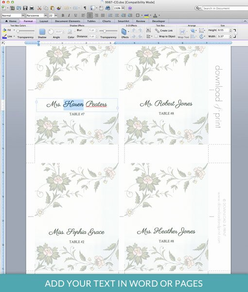 Place Card Templates Word Unique Watercolor Flowers Place Card Template – Download & Print