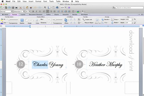 Placement Card Template Word Beautiful Elegant Place Card Template – Download & Print