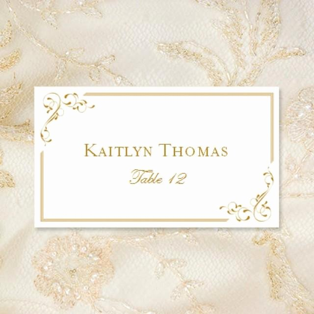 "Placement Card Template Word Beautiful Printable Place Cards ""elegance"" In Gold Editable Wordc"