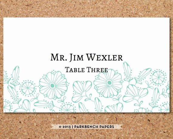 Placement Card Template Word Inspirational Items Similar to Place Card Template Floral Mint Diy