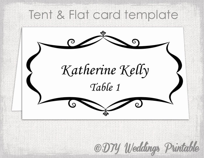 Placement Card Template Word New Place Card Template Tent and Flat Name Card Templates