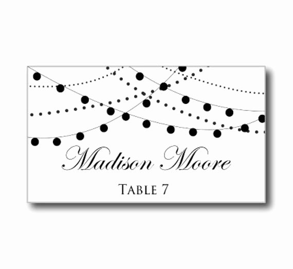 Placement Card Template Word Unique Printable Wedding Place Card Template String Lights by