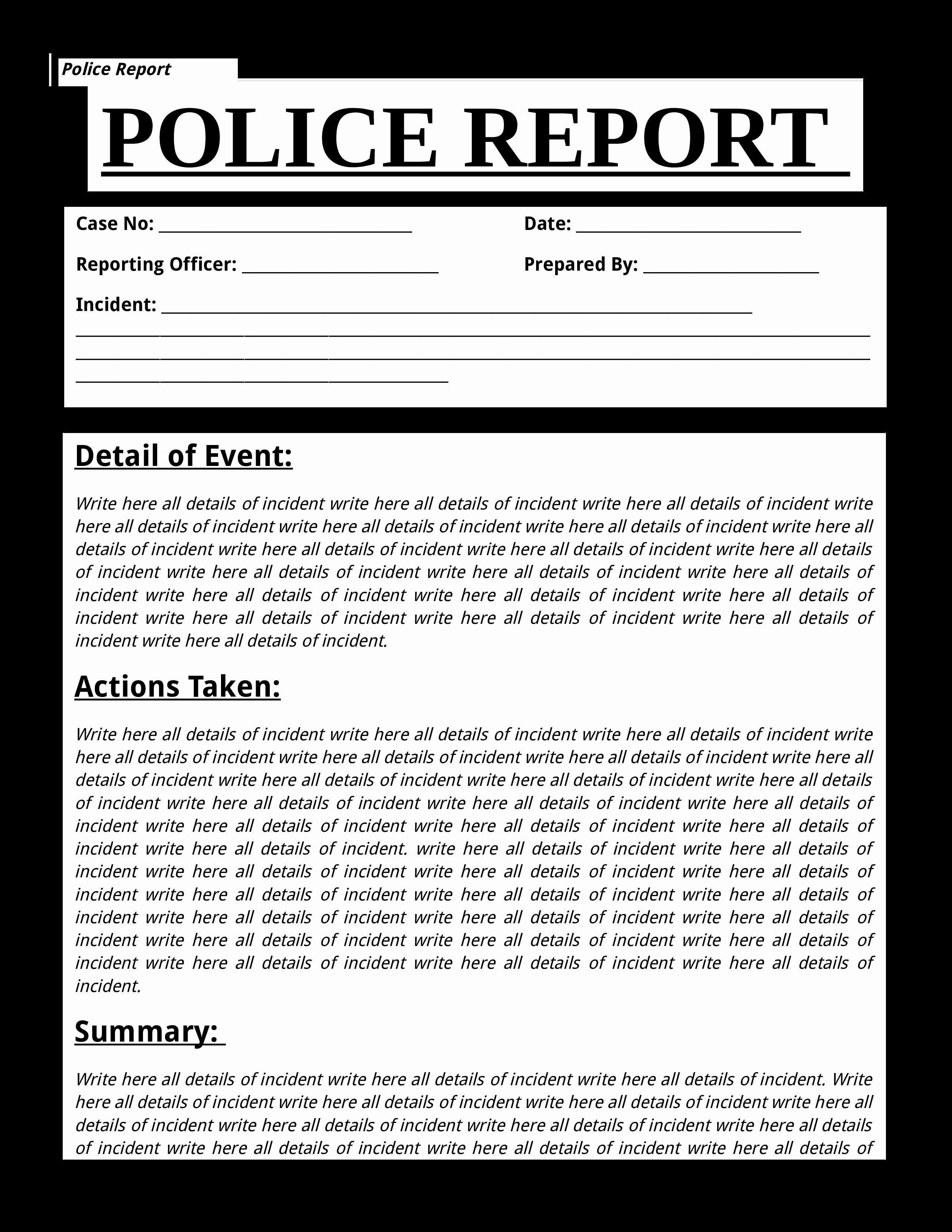 Police Report Template Pdf Best Of Free Police Report Template