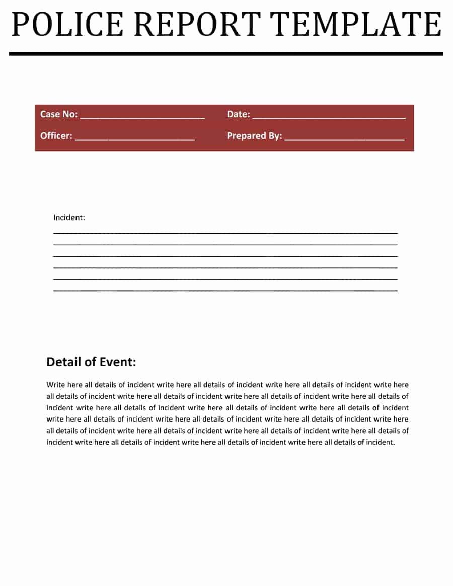 Police Report Template Pdf Fresh 7 Police Report Templates In Word Pdf Free formats