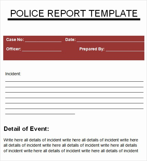 Police Report Template Pdf Unique 29 Sample Reports Pdf Word Apple Pages