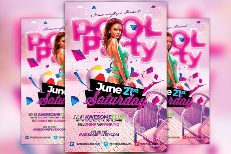 Pool Party Flyer Templates Awesome Pool Party Flyer Template Flyer Templates Creative Market