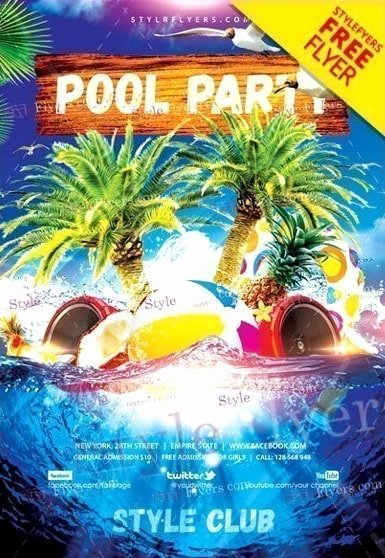 Pool Party Flyer Templates Beautiful Pool Party Free Psd Flyer Template Free Psd Flyer
