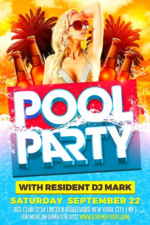 Pool Party Flyer Templates Beautiful Summer Pool Party Psd Flyer Template Xtremeflyers