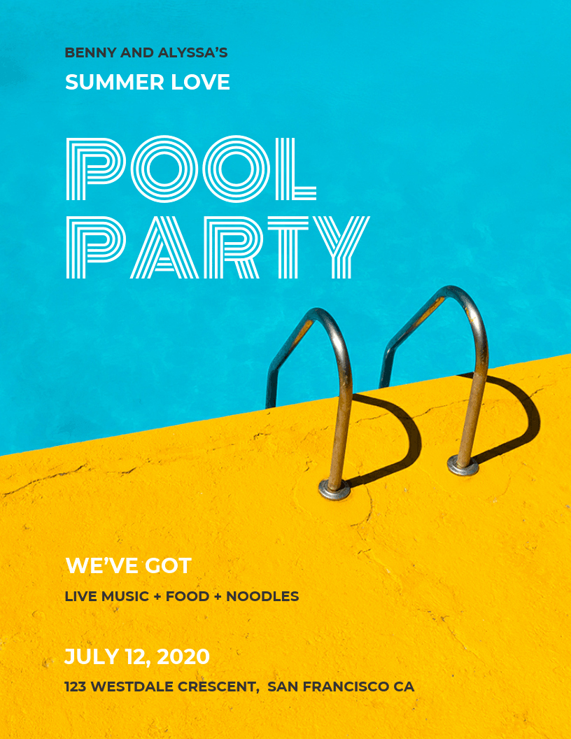 Pool Party Flyer Templates Elegant Pool Party Flyer Template Venngage