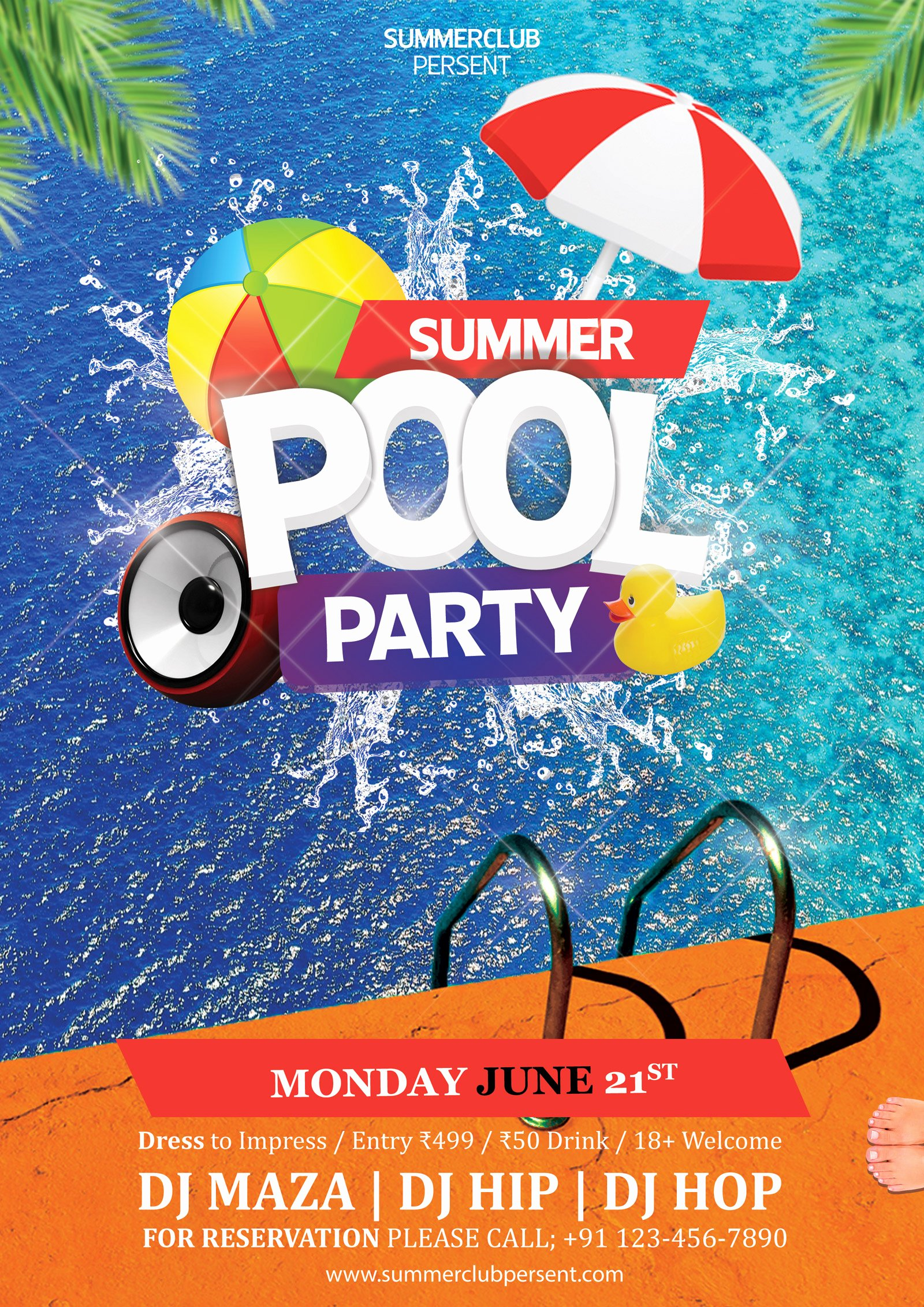 Pool Party Flyer Templates Lovely Pool Party Psd Flyer
