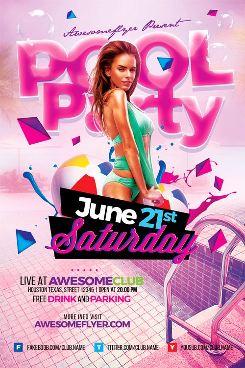 Pool Party Flyer Templates New Summer Pool Party Flyer Template Flyer for Summer and