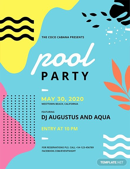 Pool Party Flyer Templates Unique 23 Pool Party Flyers Free Psd Word Ai Eps format