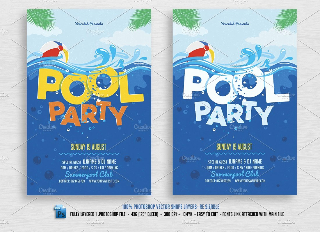 Pool Party Flyers Templates Free Awesome Pool Party Flyer Flyer Templates Creative Market