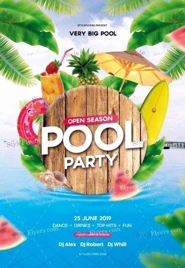 Pool Party Flyers Templates Free Awesome Pool Party Flyer Psd Template Styleflyers