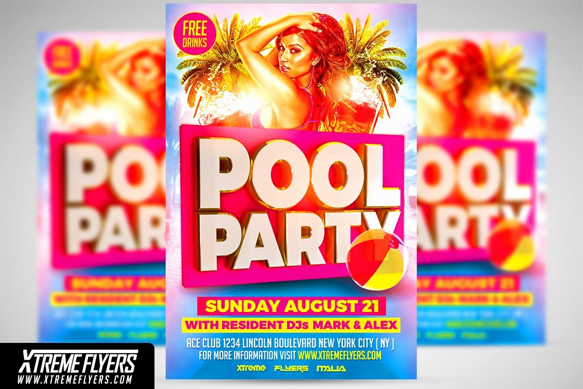 Pool Party Flyers Templates Free Awesome Pool Party Flyer Template Flyer Templates Creative Market