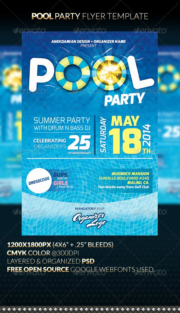 Pool Party Flyers Templates Free Beautiful Pool Party Flyer Template by Anekdamian